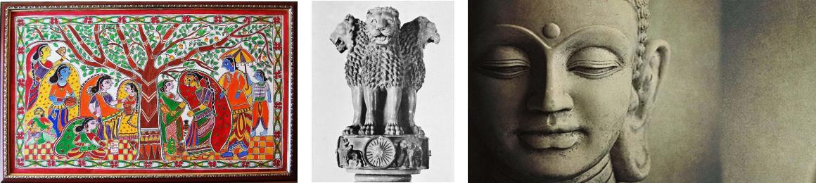 Madhubani painting, Ashok Stambh and Lord Buddha